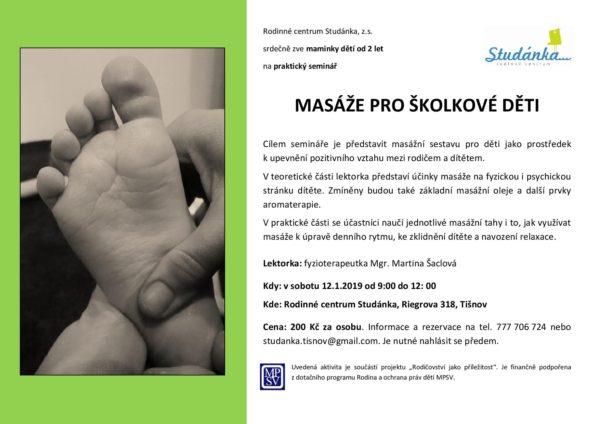 plakát Masáže pro školkové děti