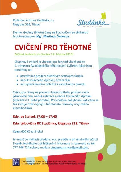 plakát Cvičení pro těhotné od 14.3.2019