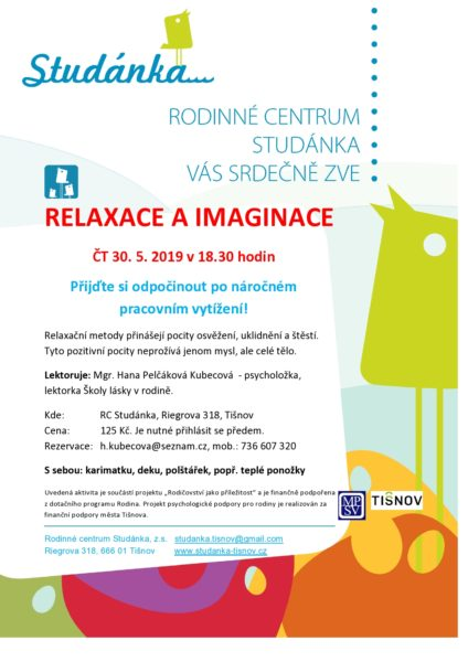 plakát Relaxace a imaginace 30.5.2019