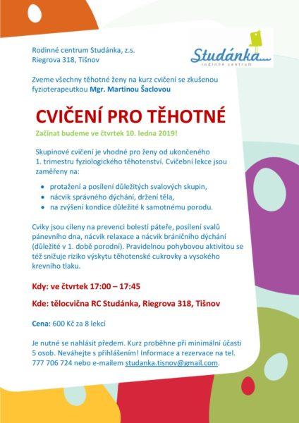 plakát Cvičení pro těhotné 10.1.2019