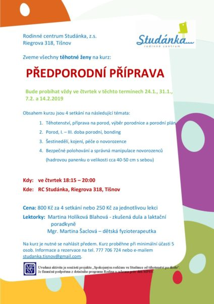 Plakát akce: Předporodní příprava – začínáme ČT 24.1.2019