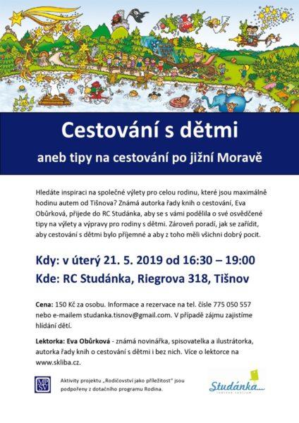 plakát Cestování s dětmi aneb tipy na cestování po jižní Moravě