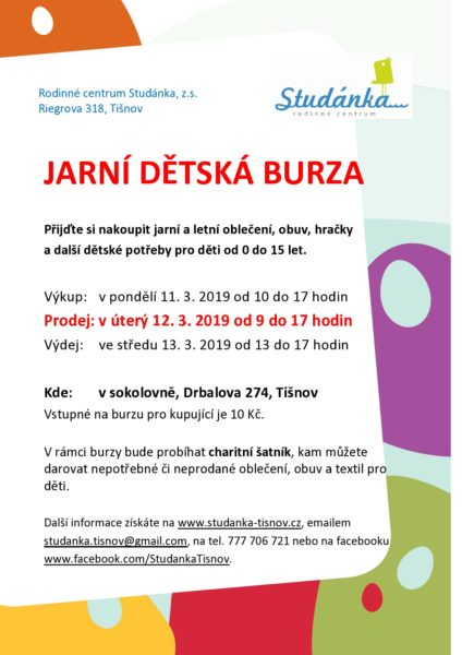 plakát Jarní dětská burza 11.-13.3.2019