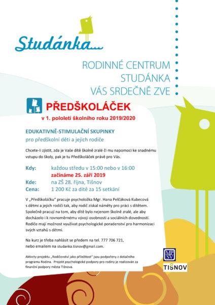 Plakát akce: Předškoláček – začínáme ST 25. 9. 2019