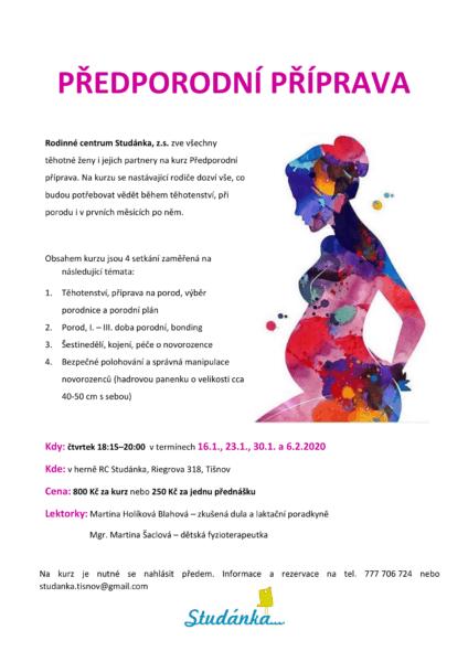 Plakát akce: Předporodní příprava – začínáme 16.1.2020