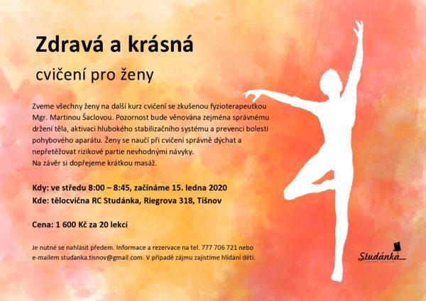 Plakát akce: Zdravá a krásná – cvičení pro ženy – začínáme 15. 1. 2020