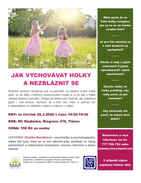 Plakát akce: Jak vychovávat holky a nezbláznit se