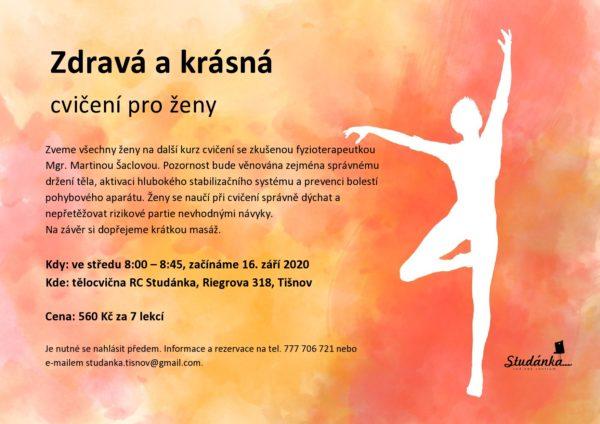 Plakát akce: Zdravá a krásná – cvičení pro ženy – začínáme ST 16. 9. 2020