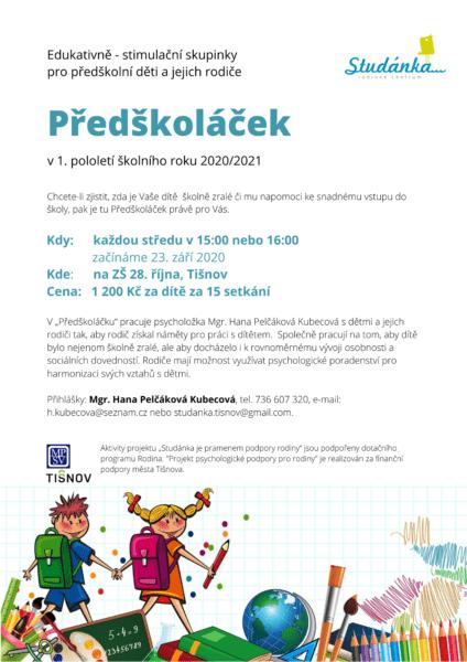 Plakát akce: Předškoláček – začínáme ST 23. 9. 2020