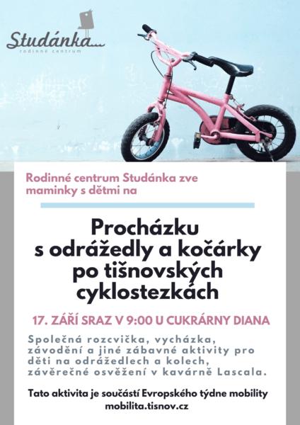 Plakát akce: Procházka s odrážedly a kočárky po tišnovských cyklostezkách