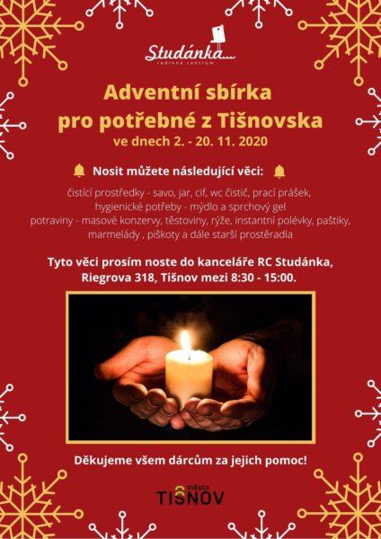 Plakát akce: Adventní sbírka pro potřebné z Tišnovska