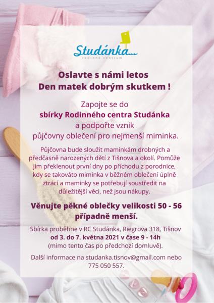 Plakát akce: Sbírka oblečení pro miminka ke Dni matek 3. – 7.5.2021