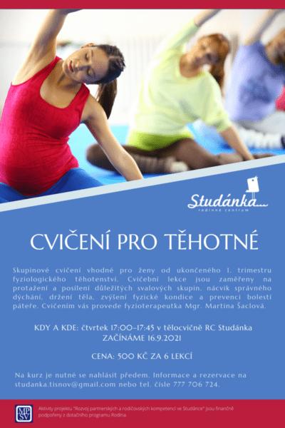 Plakát akce: Cvičení pro těhotné – začínáme 16.9.2021