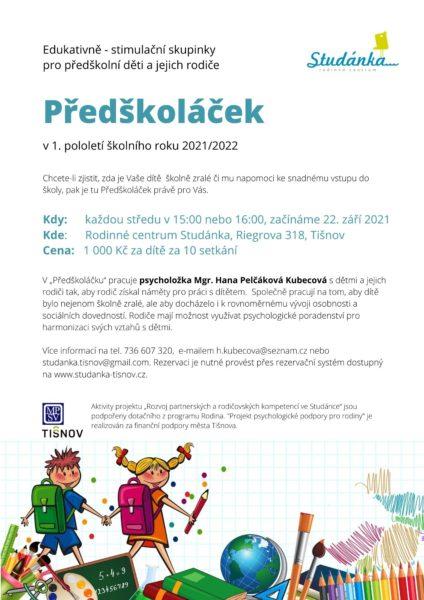 Plakát akce: Předškoláček – začínáme 22. 9. 2021